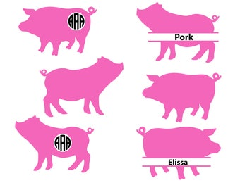 Pig SVG cut file, pig monogram svg, silhouette files, circut files, farm svg, farm animal svg, bacon svg, pork svg, svg file, svg, dxf, eps.