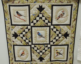 Paloma Bird Quilt. Wall Hanging Table Topper. black tree wallhanging 4748