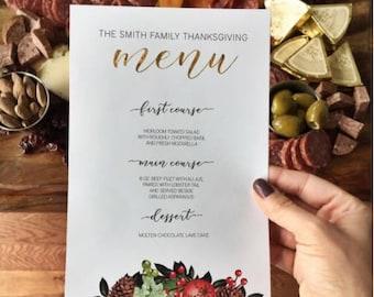 Holiday Menu Printable Template: DIY Festive Menus for Winter or Christmas Dinner Parties