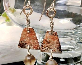 Handcrafted silver and matt smokey quartz earrings