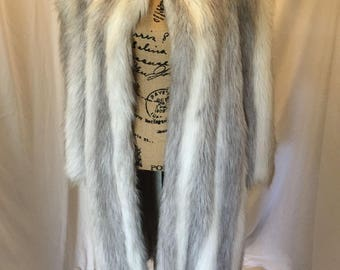 Vintage Womens White and Gray Long Faux Fur Coat Jacket with Shawl Collar Luxurious Lined
