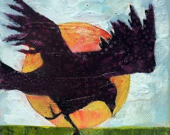 Whimsical art, original art, oil painting, crow art, whimsical animal art, small painting, crow painting, raven art, whimsical bird art