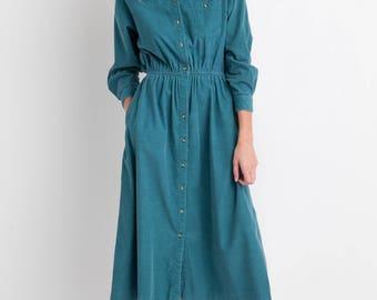 90s Teal Corduroy Dress M