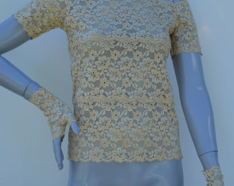 Lace short sleeve, tank top lace of Calais lace short sleeve top, top chic beige lace, short sleeve top, beige top