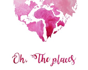 Original Watercolor Heart Shaped Map Of The World Travel - World map shape