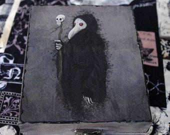 "Goth box. Hand painted and decorated wooden box. Decoupage box. Own illustration ""Palgue"". Plague Doctor box."