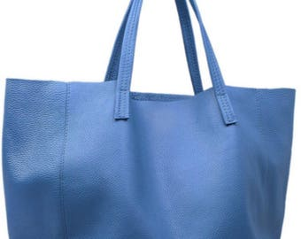 Large bag, leather tote, leather handbag, blue bag