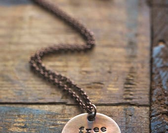 Boheme Collection | Free Spirit Long Layering Necklace | Hand-stamped Distressed Brass Pendant Boho Jewelry Feather