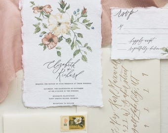 Warm Watercolor Floral Sprig and Berries Calligraphy Wedding Invitation // Available in Letterpress or Gold Foil