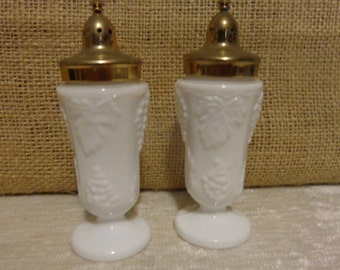 Vintage Milk Glass Salt and Pepper Shakers