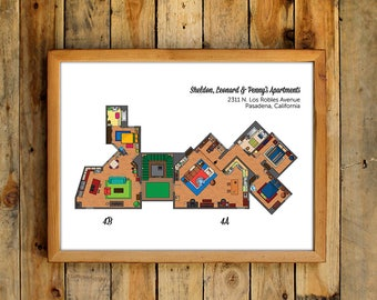 The big bang theory art print tv show apartment floor plan big bang theory floor plans poster tv show 4a 4b apartment sheldon cooper leonard hofstadter penny malvernweather Image collections