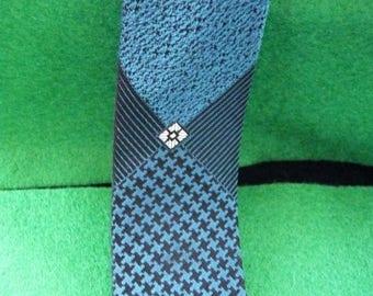 1960's Vintage Blue and Black Patterned Tie