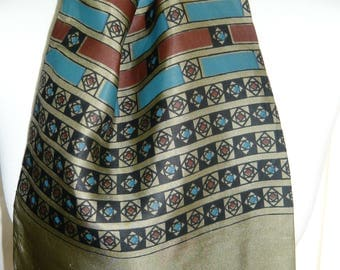 1960's Vintage Olive Green, Brown and Blue Patterned Scalf