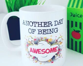 Superhero Mug, Comic Mug, Motivational Mug, Awesome Mug, Male Gift, Coffee Mug, Valentines Gift, Birthday Gift, Retro Mug, Pop Art Mug Gift