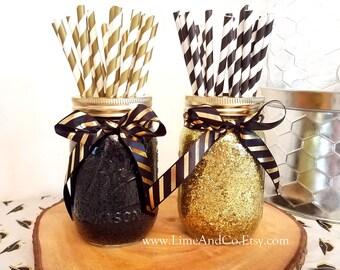 Graduation Party Decorations Mason Jar Centerpiece Wedding Black And Gold Decor