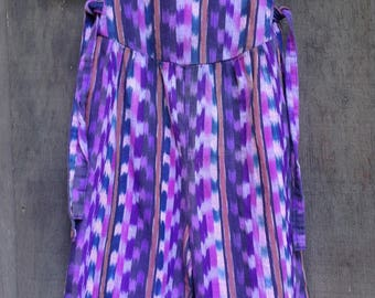 1980's 1990's Girl's Guatemalan Jumper / Overalls / Purple Multi / Stripes / Toddler's Size 3-4 see measurements