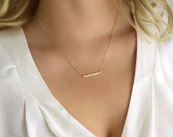 Ultra Dainty Bar Necklace - Gold Bar Necklace - Everyday Necklace - Simple Gold Necklace