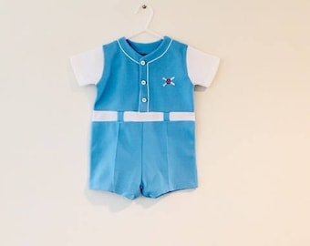 Vintage Baby Boy Blue BASEBALL Summer Shorts / Toddler Size 12-18 Months Overall Romper Sports Jumper Outfit
