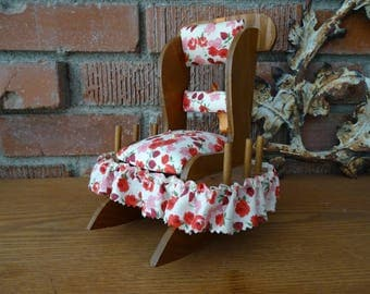 Vintage Rocking Chair Pin Cushion Plus, Homemade Rocker for Sewing Needs, Pin Cushion & Thread Spool Holder, Cute Country Look