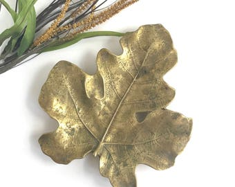 Vintage Virginia Metalcrafters Large Brass Fig Leaf