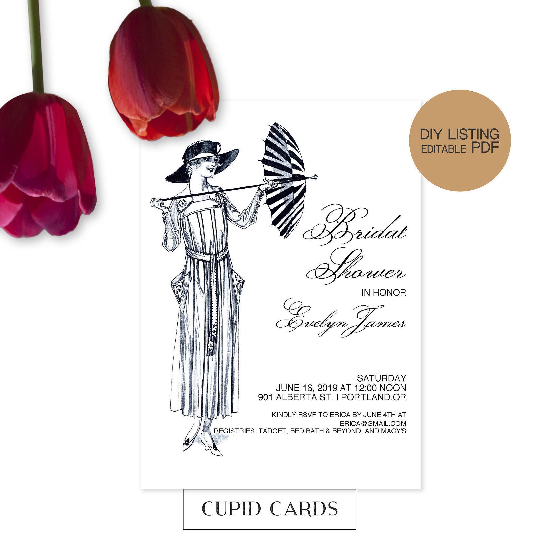Elegant Bridal Shower Invitation Template Wedding Invite Lady With Umbrella Design DIY Editable PDF File