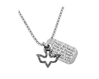 CZ Dove Necklace/Custom Verse Tag- Women's
