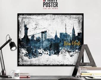 New York City art print, New York City poster, New York City skyline art, NYC distressed wall art, travel decor, home decor, iPrintPoster