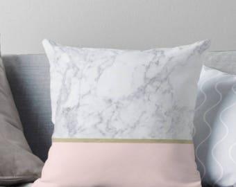 Blush Marble Pillow, Blush Pillows, Minimalist Pillow, Marble pillow, Scandinavian  pillows,