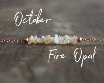 Raw Opal Necklace, Ethiopian Welo Opal Necklace, October Birthstone, Fire Opal Jewelry, Raw Stone Choker, October Birthday Gift for Her
