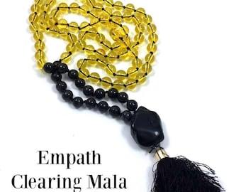 Empath Protection/Clearing Mala Prayer Beads: Citrine, Nuummite Black Onyx Tassel, Hand Knotted, Gemstone, Crystal Healing.  Grounding