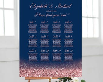 Navy Blush Wedding Seating Chart Printable Wedding Seating Board Navy And Rose Gold Wedding Table Plan Elegant Navy Wedding Decor Glitter