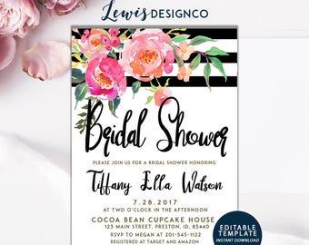 Floral Bridal Shower Invitation, INSTANT DOWNLOAD file pdf DIY, Wedding Invite Card, Black and Pink Floral Watercolor, Printable Invitation