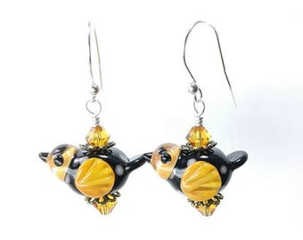 Blown Glass Bird Earrings/ Monarch Butterfly Earrings/ Handmade Lampwork Bird Earrings/ Bird Jewelry/ Monarch Jewelry/ Boho Dangle Earrings