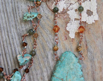 Rustic Turquoise Necklace- Hand-beaded Chain- Western Style Necklace