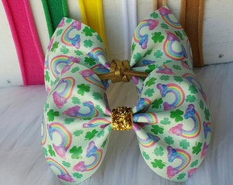 St Patrick's Day Flutter Bow ~ You Choose One ~ Vegan Leather ~ Faux Suede ~ Faux Leather ~ Alligator Clips ~ One Size Nylon ~