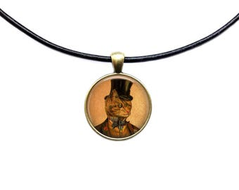 Animal necklace Gentleman Cat pendant Vintage jewelry