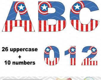 Digital Captain American Clipart, Captain American Alphabet Clip Art, Captain American Number Clipart Captain American Letters Clip Art 0116