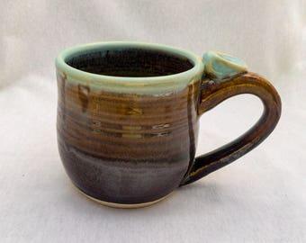 Extra-Large mug with thumb rest and spiral, stoneware pottery- glossy brown and light blue glaze, wheel-thrown mug, XL ceramic mug (16 oz)