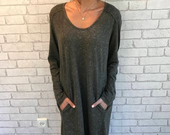 Gray dress long sleeves, dress with sleeves For Women, Fall oversize  dress, Casuel Drees, gray dress with pockets