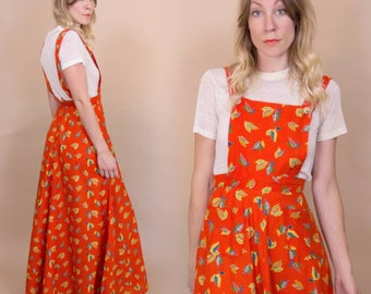 Vintage 1970s Blood Orange, Falling Leaf Pinafore Hippie Maxi Dress