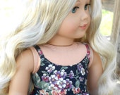 Black/Pink/Green Floral Strappy Dress for American Girl Dolls