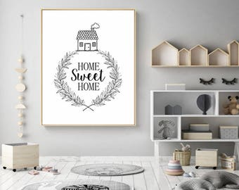 home sweet home, home decor, home print, house print, house decor, decor house, living room art, nordic print,modernist art,5 SIZES INCLUDED