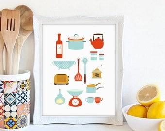 Kitchen Print, Modern Kitchen Art, Kitchenware Print, Mod Kitchen, Modern  Art Print