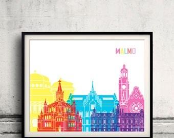 Malmo skyline poster - Fine Art Print Glicee Poster Gift Illustration Pop Art Colorful Landmarks - SKU 2501