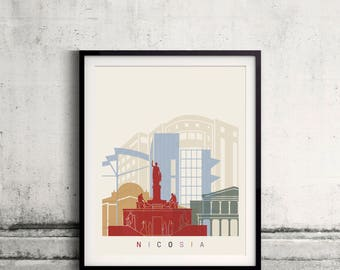 Nicosia skyline poster - Fine Art Print Landmarks skyline Poster Gift Illustration Artistic Colorful Landmarks - SKU 2516