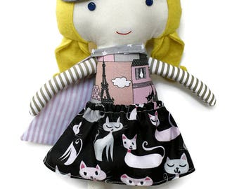 Superhero cat girl doll in supergirl costume, cat print skirt, cape and mask, role model for girls and catlovers, toddler gift for birthday