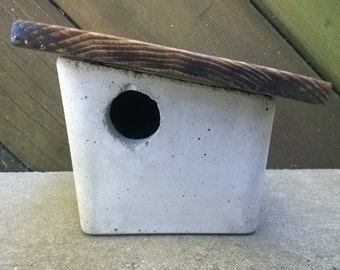 Concrete Bird House - Side Slant Wood Roof With Bolted Perch | Garden Decor | Outdoor Decor | Boxy, Square, Cube, Cubed, Geometric