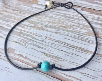 Turquoise Leather Choker Necklace, Turquoise Pearl Leather Necklace, Single Turquoise Bead Leather Choker, Southwestern Turquoise Choker