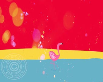Art print flamingo at the beach