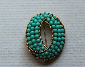 Vintage Aqua Bead Trifari Brooch // 1960's Alfred Phillippe Trifari Oval Bead and Gold Pin // Large Size Braided Gold Rare Mod Piece